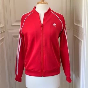 Adidas track suit jacket red w/ white women's M